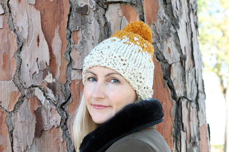chunky knit hat with two colours using stranded knitting