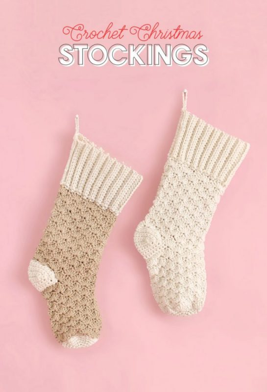 crochet Christmas stockings with ribbed cuffs