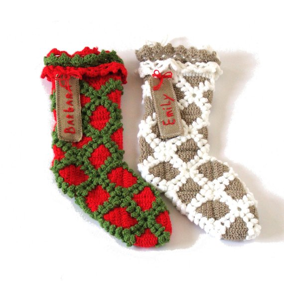 Personalized crochet Christmas stockings with name tags