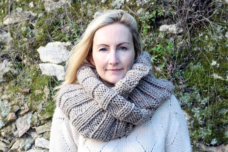 infinity scarf worn wrapped twice around the neck