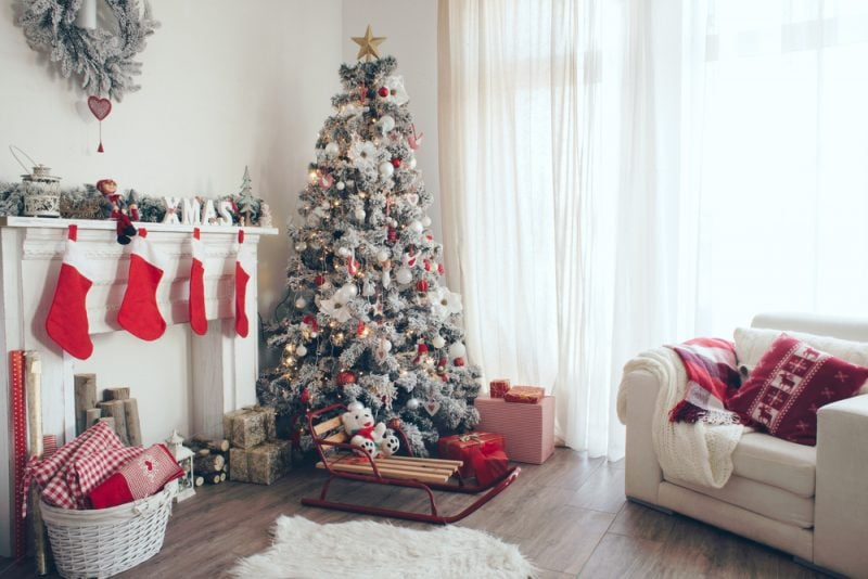 living room with red and white Christmas decorations