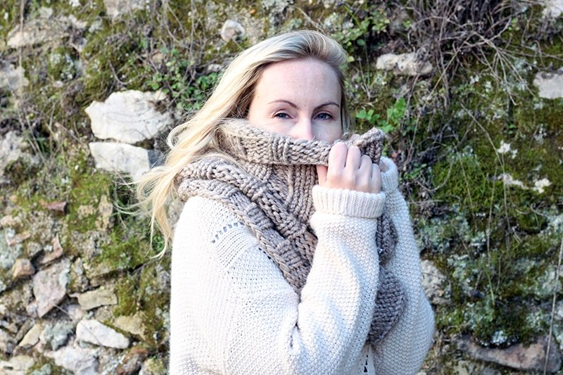 super chunky infinity scarf worn around the neck and face