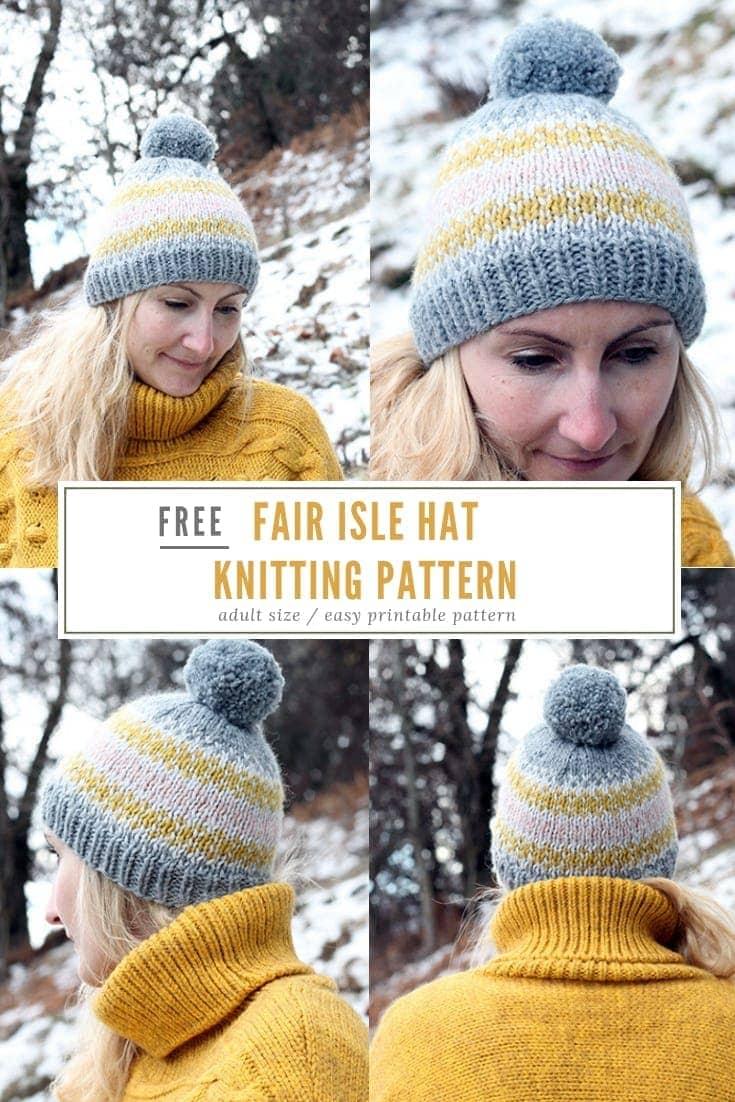 Free fair isle hat knitting pattern