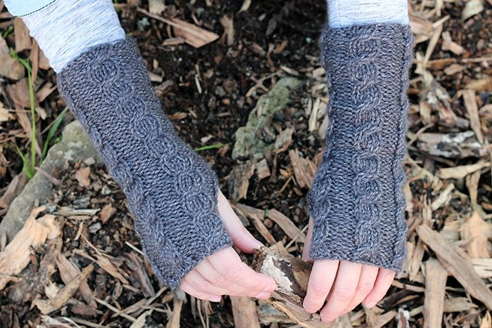 Grey fingerless mittens