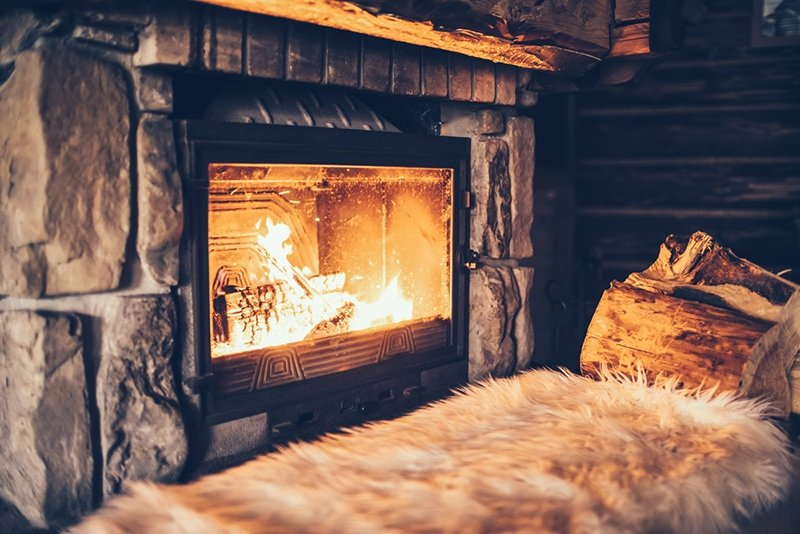 Cozy cabin log fire