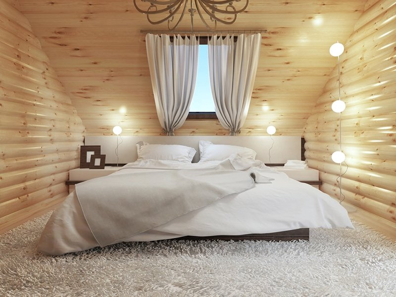 Cozy log cabin bedroom interior