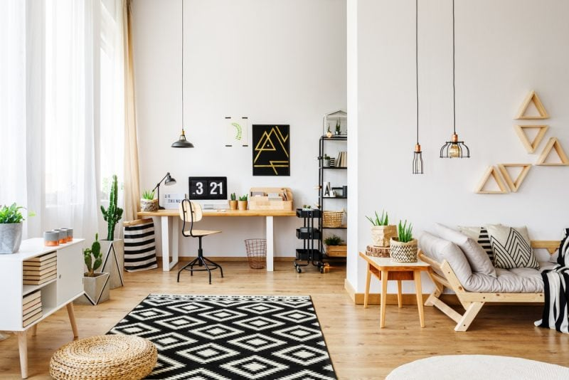 livig room with a small office space