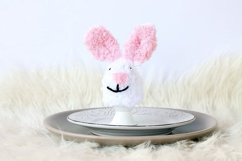 Fluffy Easter bunny egg cosy