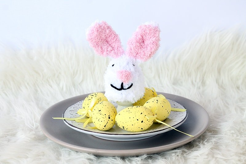 Easter bunny egg cosy with easter eggs