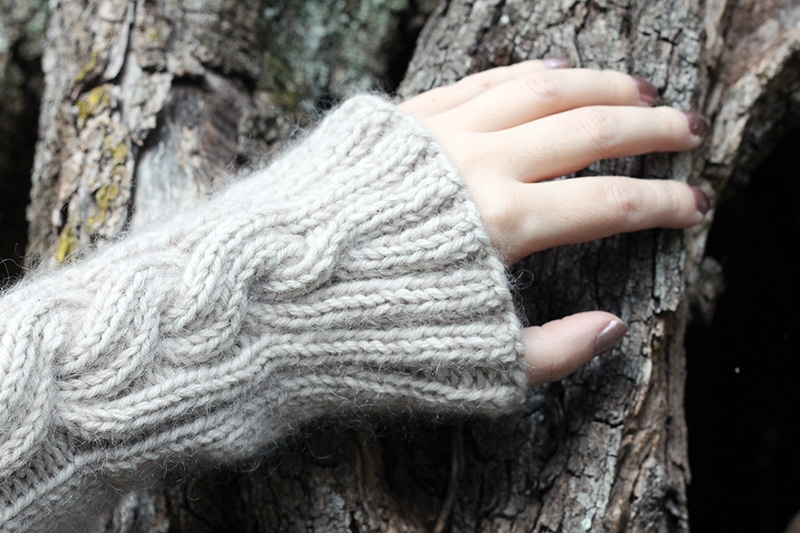 cable knit wrist warmers pattern