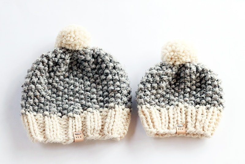 Seed stitch knitted baby hats for matching mommy and me set
