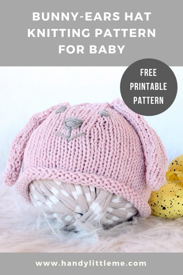 Bunny ears hat knitting pattern for baby
