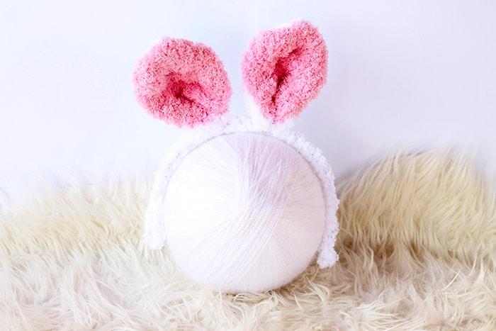 knitted bunny ears headband in fluffy yarn