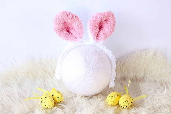 Easter bunny headband in white and pink
