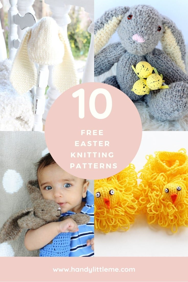 10 free Easter knitting patterns designed by Handly Little Me