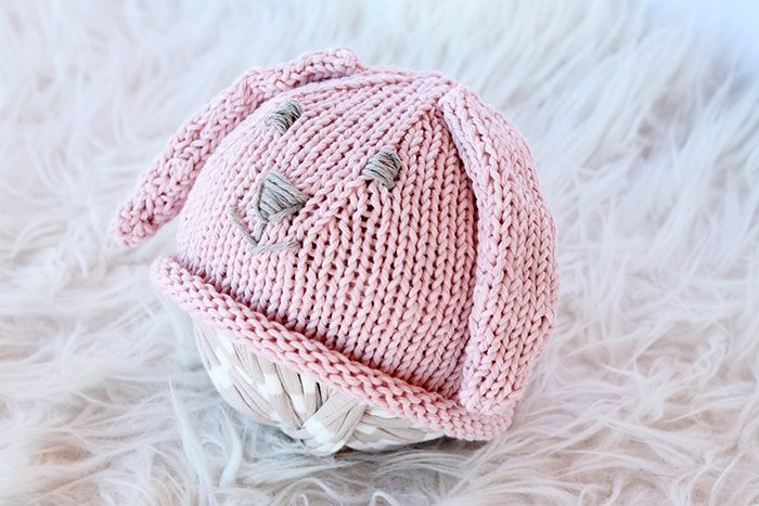 Pink knitted bunny ears hat for baby