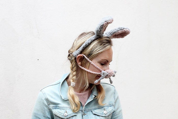 bunny nose warmer and matching headband