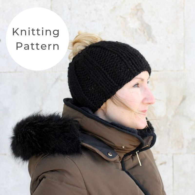 messy bun hat knitting pattern