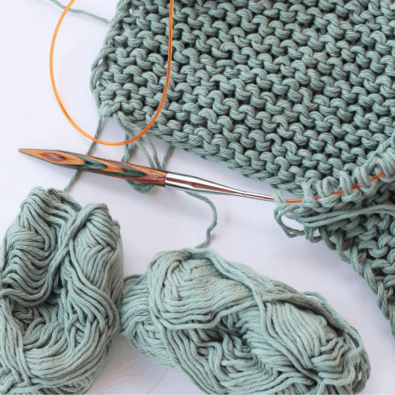 Rico creative cotton aran in Patina knit with two strands together