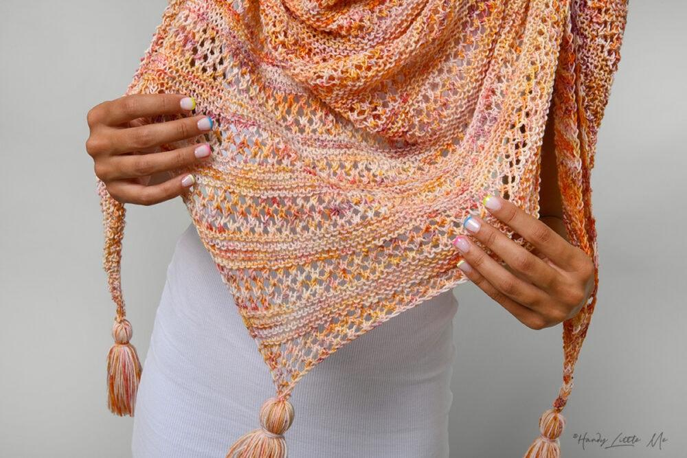 Asymmetrical shawl close up
