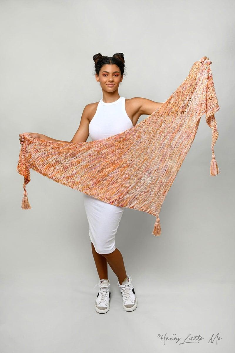 Asymmetrical shawl knitting pattern