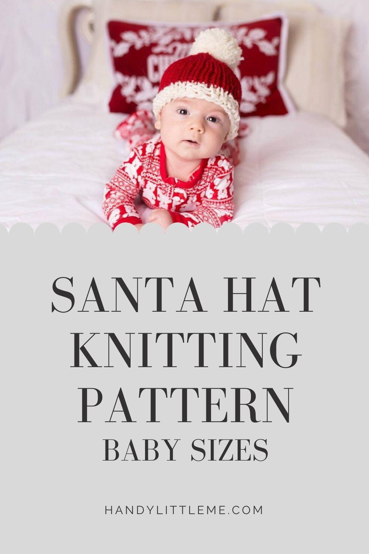 Baby Santa hat knitting pattern