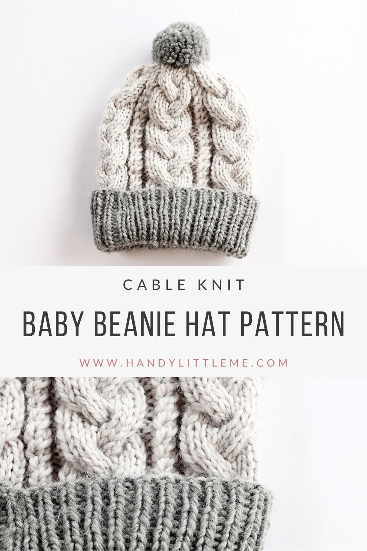 Baby beanie hat knitting pattern