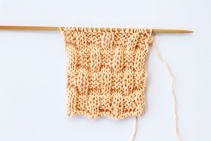 Basket weave stitch knitted swatch example