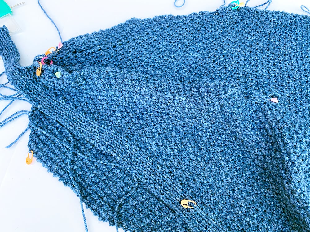 Blue cardigan making up step 1