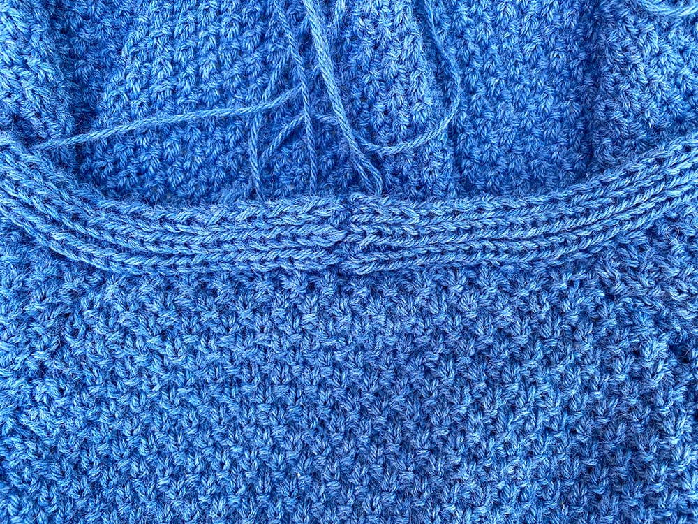 Blue cardigan making up step 6.5