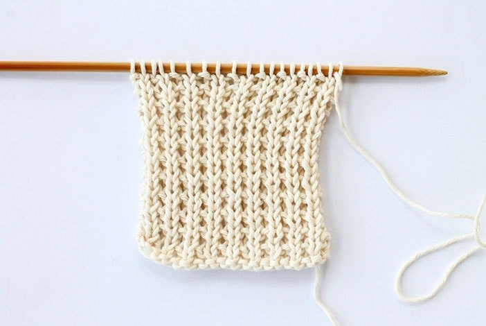 Broken rib stitch knitted swatch example