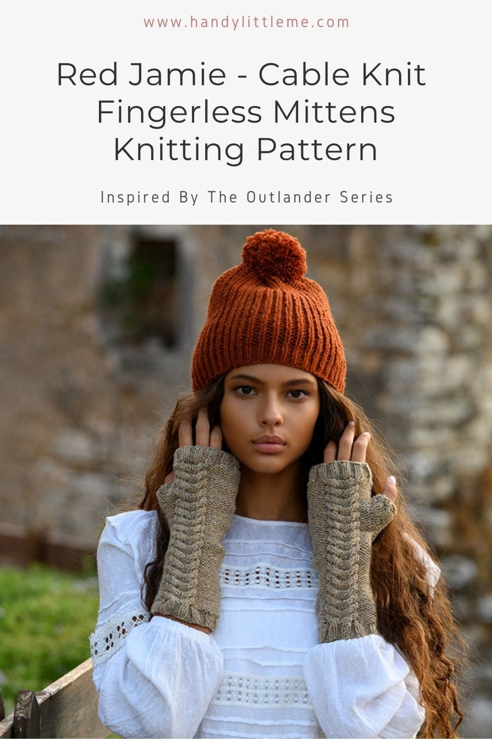 Cable knit fingerless mittens pattern