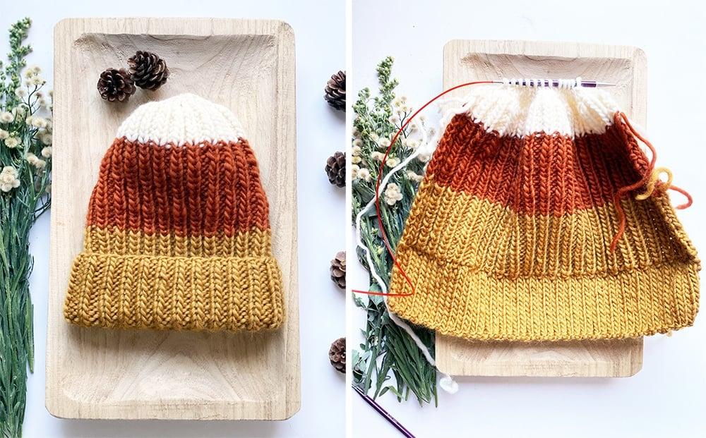 Candy corn hat flatlay