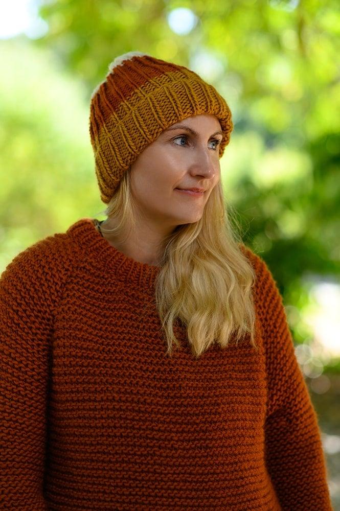 Candy corn hat knitting pattern