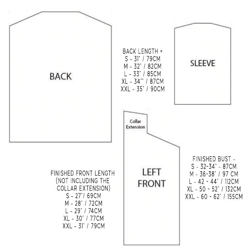 Cardigan pattern measurements