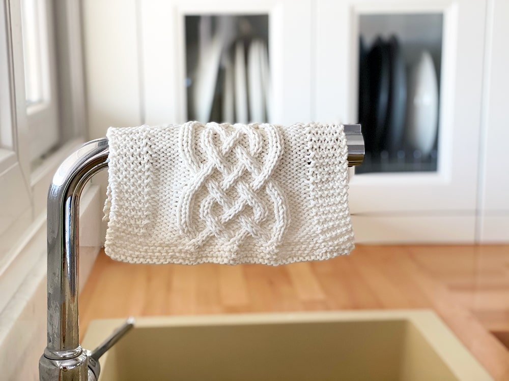 Celtic cable knitted dishcloth