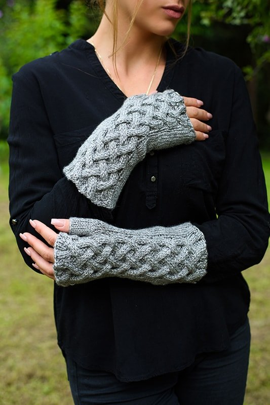 Celtic cable knit gloves