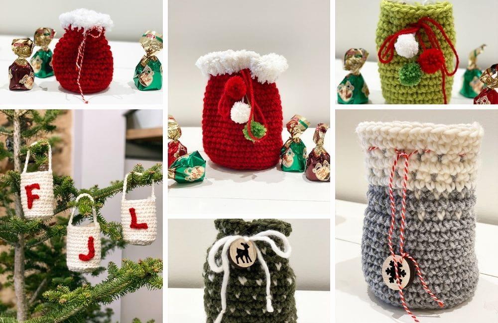 Christmas crochet bags