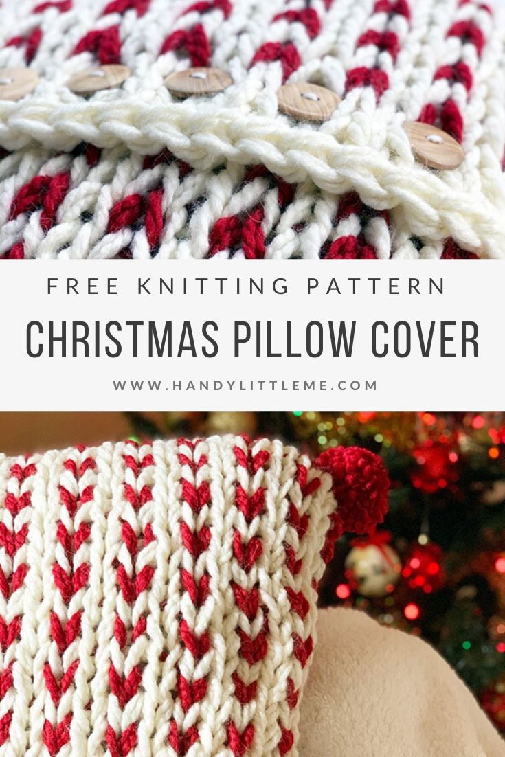 Christmas throw pillow cover knitting pattern
