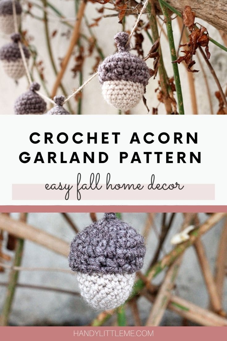 Crochet acorn garland