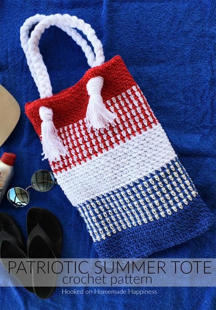 Crochet bag patriotic
