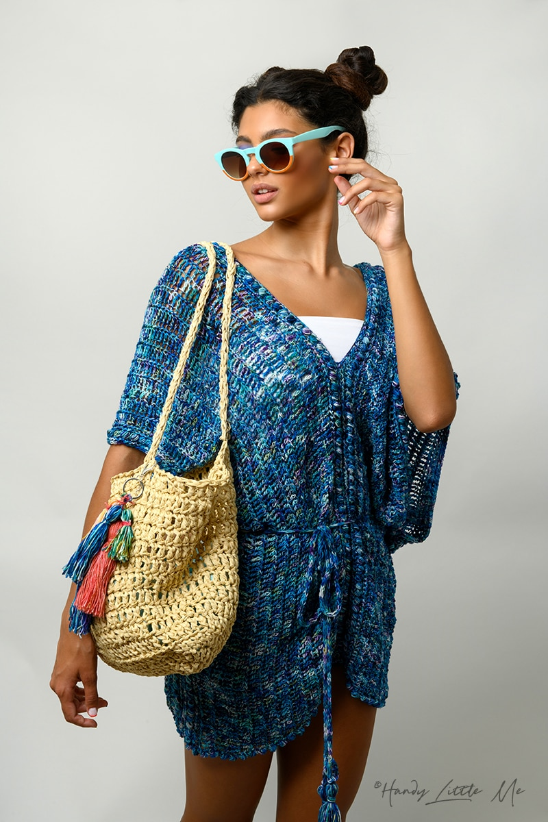 Crochet beach cover up and bag