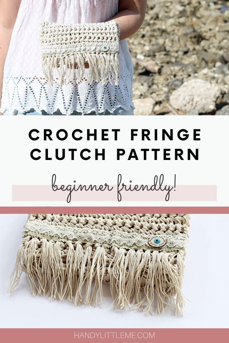 Crochet fringe clutch pattern
