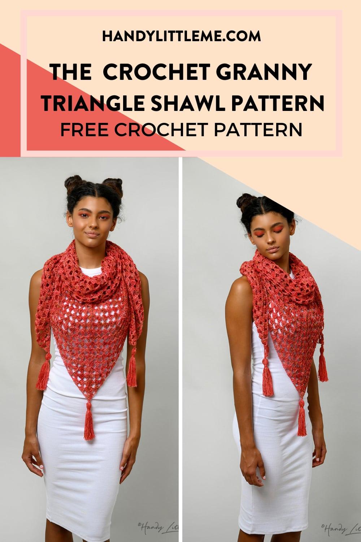 Crochet granny triangle shawl