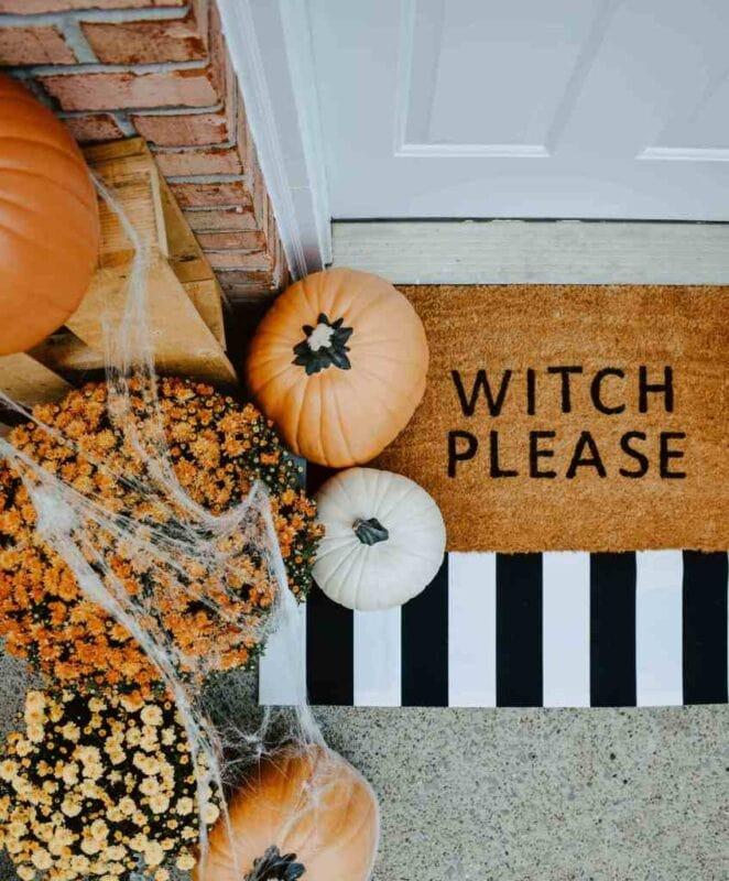 Halloween door mat witch please