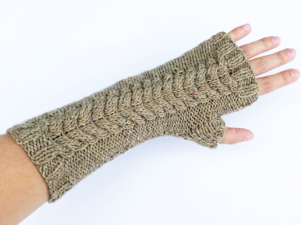 Double cable fingerless mittens front view
