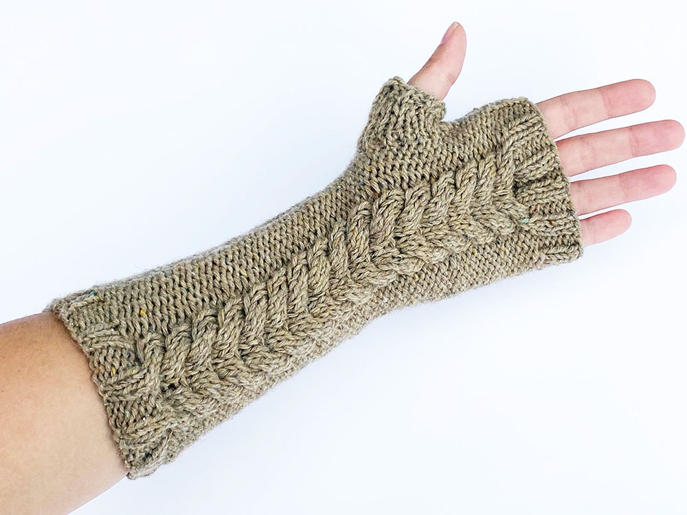 Double cable fingerless mittens underside view