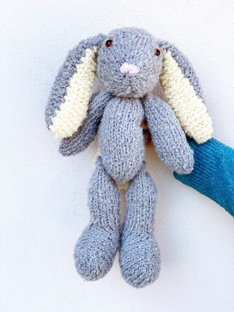 grey knitted bunny