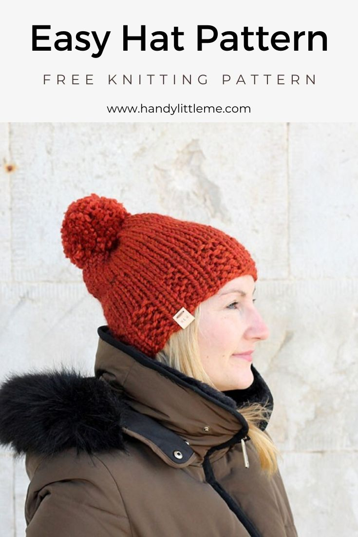Easy hat knitted in Lion Brand Yarn