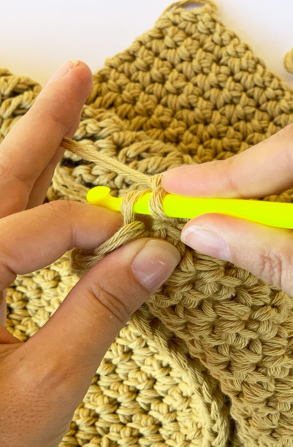 learning how to hold a crochet hook